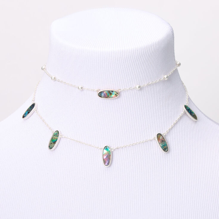 Silver Abstract Seashell Oval Multi Strand Necklace,