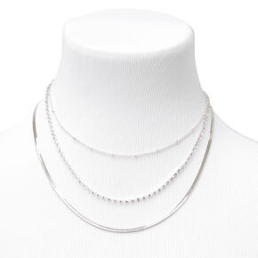 Silver Beaded, Rhinestone & Snake Chain Necklaces - 3 Pack,