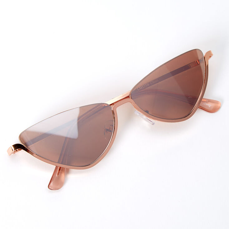 Metallic Rimless Top Slim Cat Eye Sunglasses - Rose Gold,