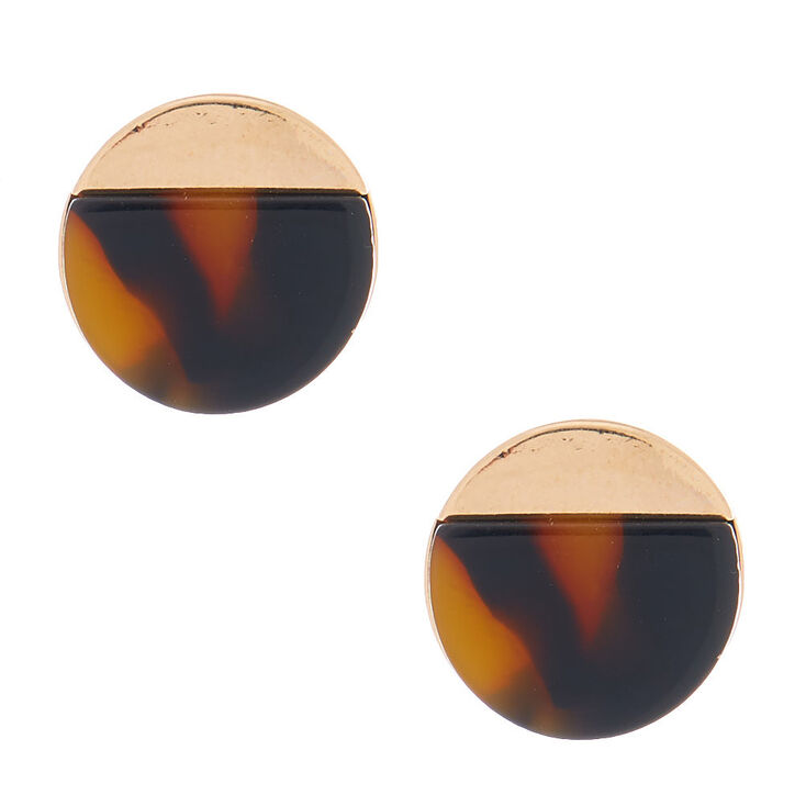 Gold Tortoiseshell Stud Earrings - Brown,