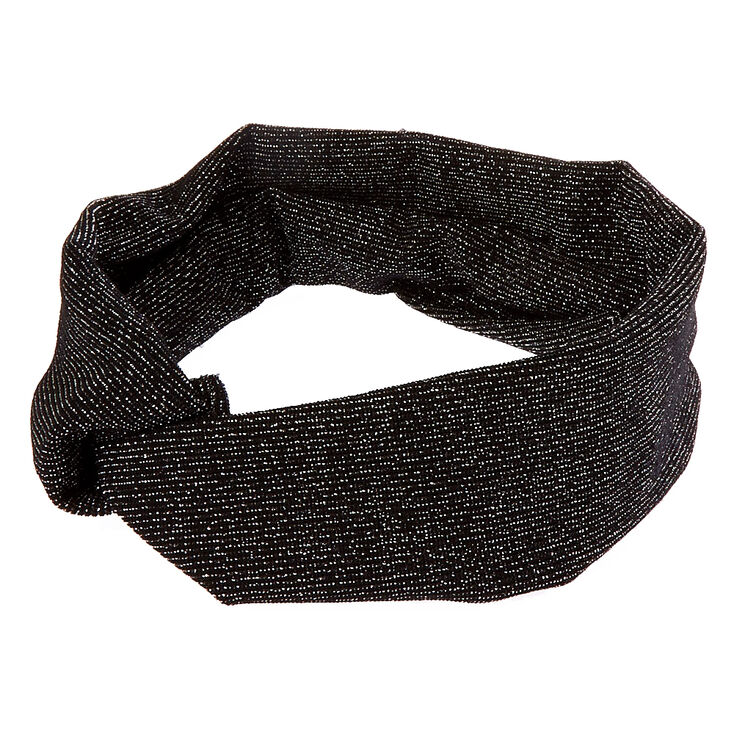 Wide Jersey Lurex Black Headwrap,