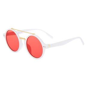 Round Mod Sunglasses - White,