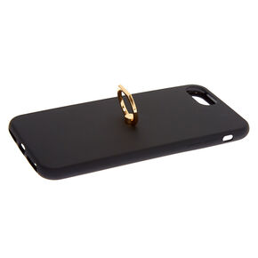 Black Soft Touch Ring Holder Phone Case - Fits iPhone 6/7/8 Plus,