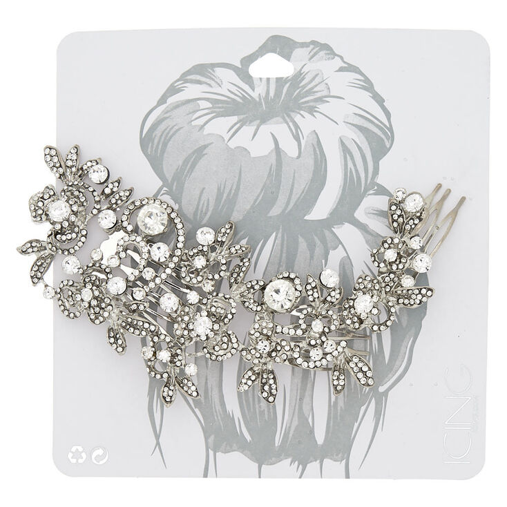 Large Glass Rhinestone Floral Hair Comb,