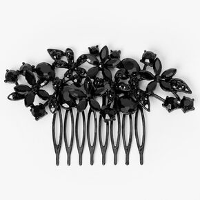Black Flower Garden Rhinestone Hair Comb,