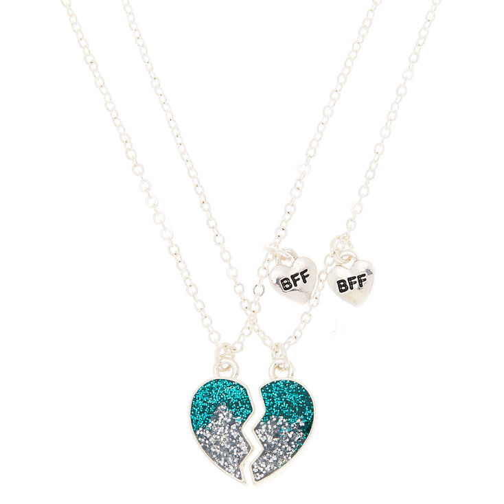 Best Friends Ombre Glitter Heart Pendant Necklaces - Teal, 2 Pack,