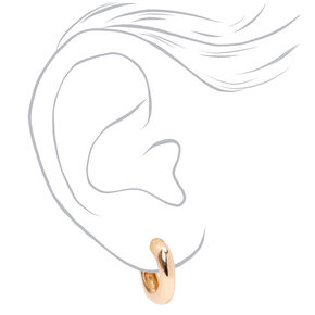 Gold 20MM Thick Square Bottom Hoop Earrings,