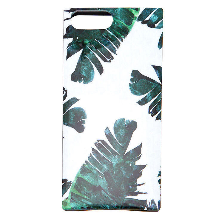 Tropical Leaves Square Phone Case - White,