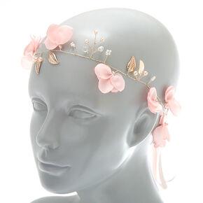 2-In-1 Rose Gold Floral Belt & Headwrap - Pink,