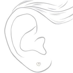 Silver Rope Heart Stud Earrings,