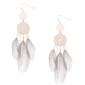 "Rose Gold 3"" Feather Dreamcatcher Drop Earrings - Gray,"
