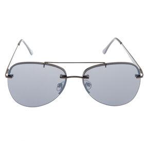 Black Rimless Aviator Sunglasses,