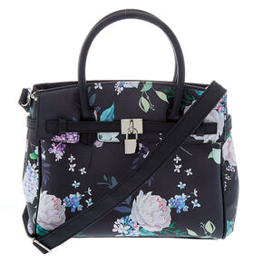 Floral Satchel Crossbody Bag - Black,