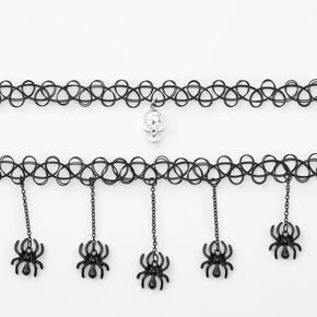 Skull Spider Tattoo Choker Necklaces - Black, 2 Pack,