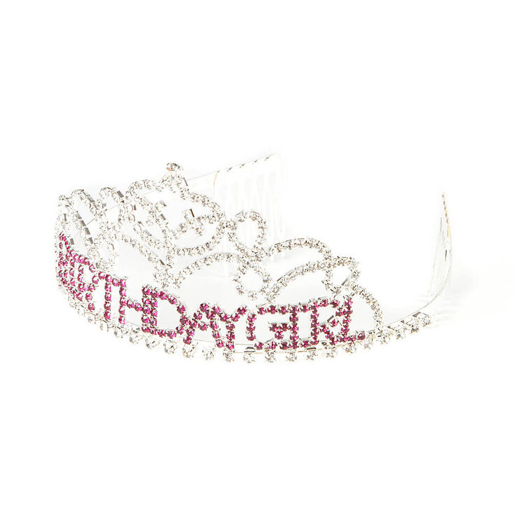 Birthday Girl Tiara with Clear & Pink Rhinestones,