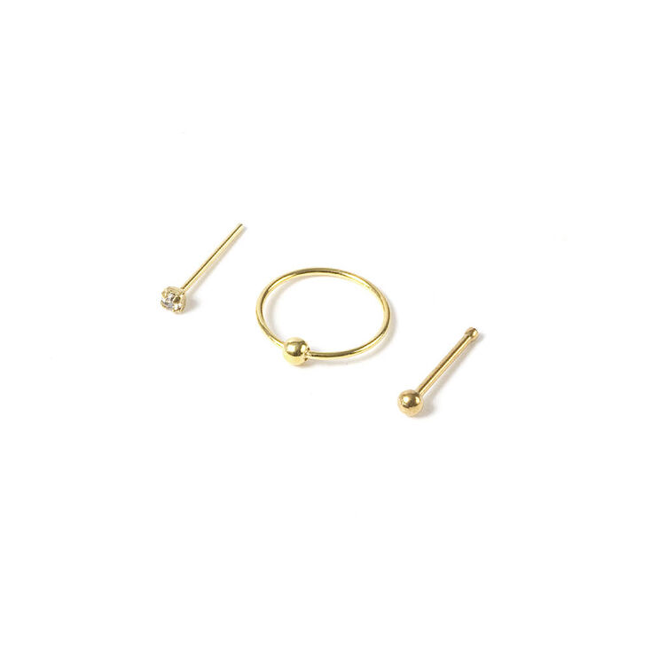 20g Gold Stud Ball Hoop Nose Rings Set Of 3 Icing Us