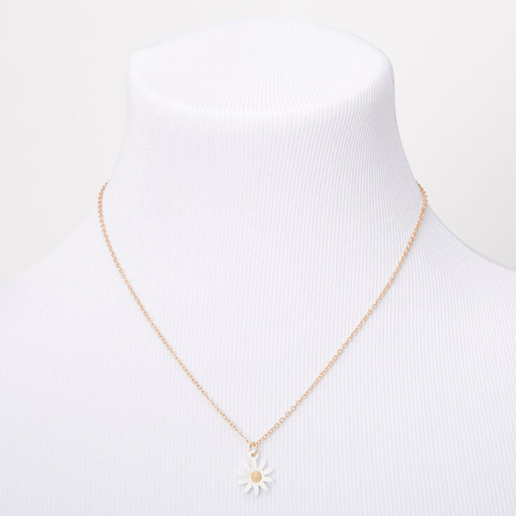 Gold Dainty Daisy Pendant Necklace,