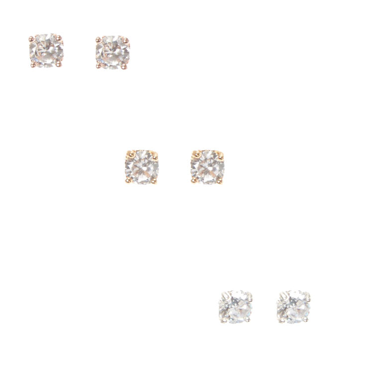 Boxed Heart Framed Round Cubic Zirconia Stud Earrings Set,