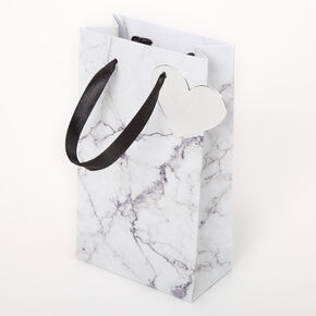 Small Marbled Gift Bag - White,