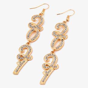 """Gold 3"""" 2021 Cubic Zirconia Linear Drop Earrings,"""
