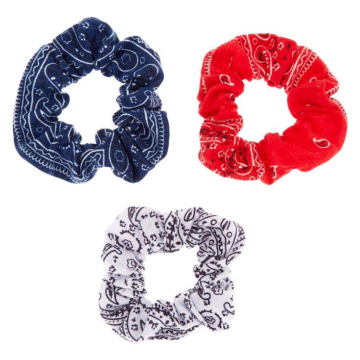 Small Paisley Bandana Hair Scrunchies - 3 Pack,