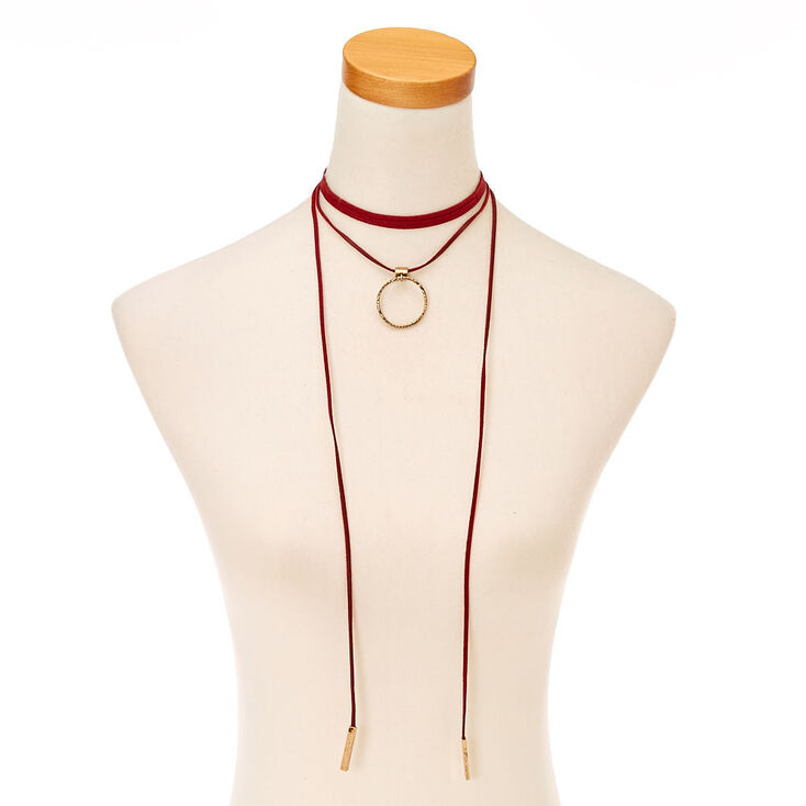Red Leather Choker Necklace,