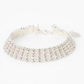 Silver Rhinestone Pearl Chain Bracelet,