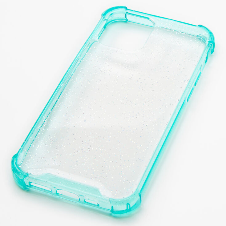 Mint Glitter Clear Phone Case - Fits iPhone 12 Pro,