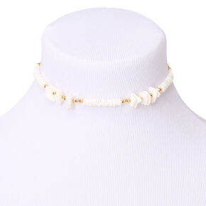 Gold Puka Shell Choker Necklace,