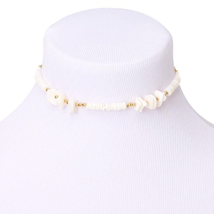 Gold Puka Shell Choker Necklace,