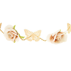 Gold Zig-Zag Butterfly Flower Crown Headwrap,