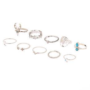 Silver Western Rings - 10 Pack,