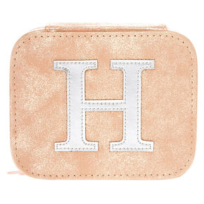 "Blush Pink ""H"" "" Initial Jewelry Case,"
