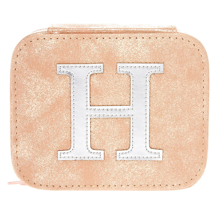 """Blush Pink """"H"""" """" Initial Jewelry Case,"""