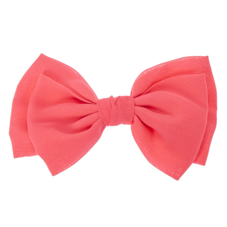 Double Flop Neon Pink Bow Hair Clip,