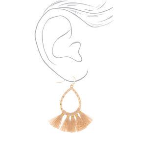 """Gold 2"""" Tassel Teardrop Drop Earrings - Beige,"""