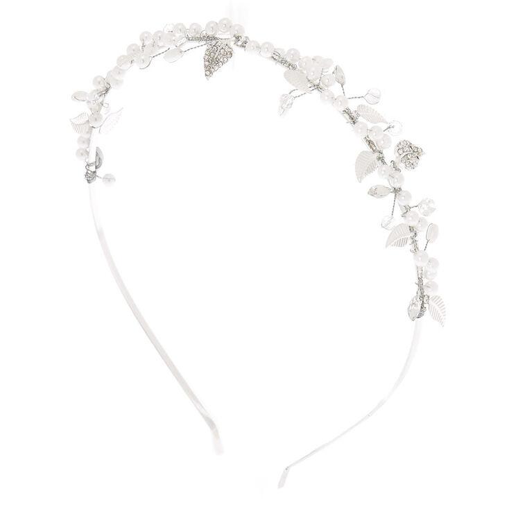 Silver Pearl Vine Headband,