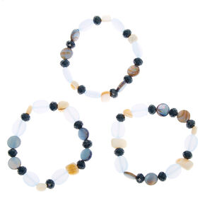 Seashell Stone Stretch Bracelets - Blue, 3 Pack,