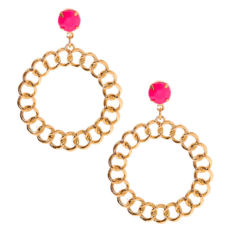 "Gold 2"" Chain Link Drop Earrings,"