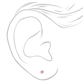 Silver Cubic Zirconia Round Stud Earrings - Pink, 3MM,
