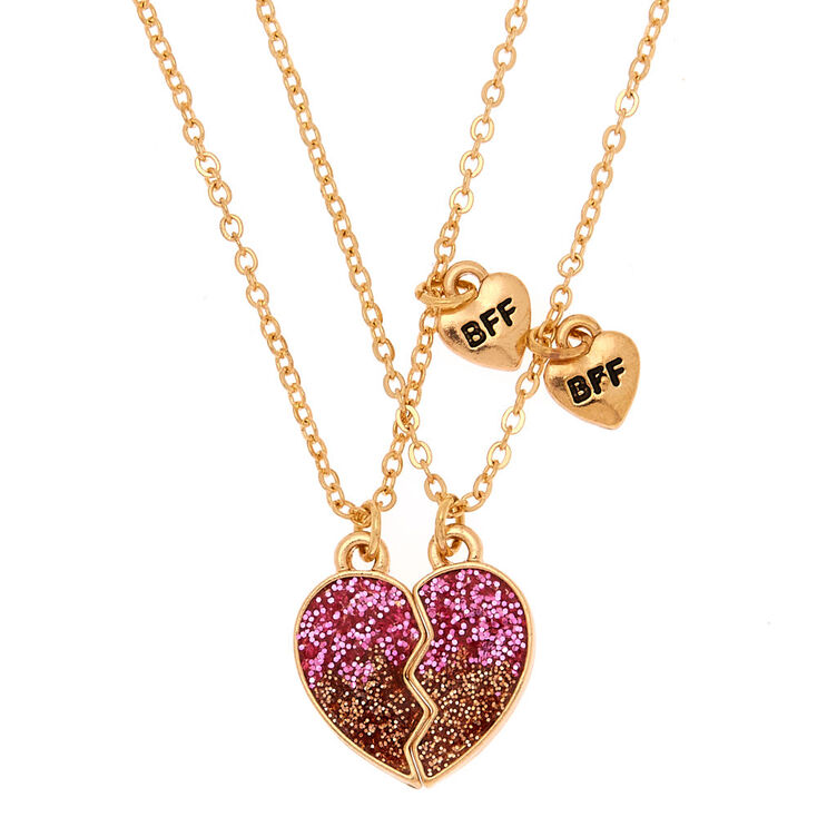 Best Friends Ombre Glitter Heart Pendant Necklaces - Pink, 2 Pack,