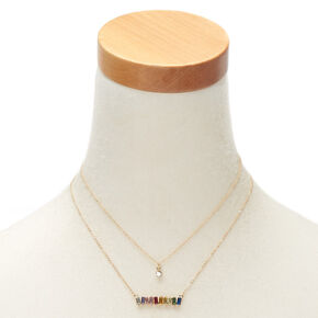 Rainbow & Stone Statement Necklace Set - 2 Pack,
