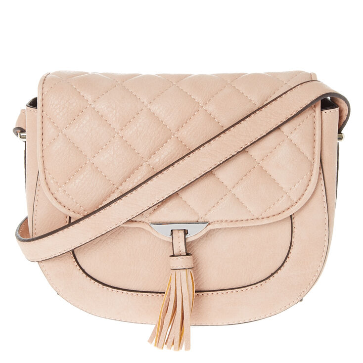 Quilted Tassel Pink Crossbody Bag,