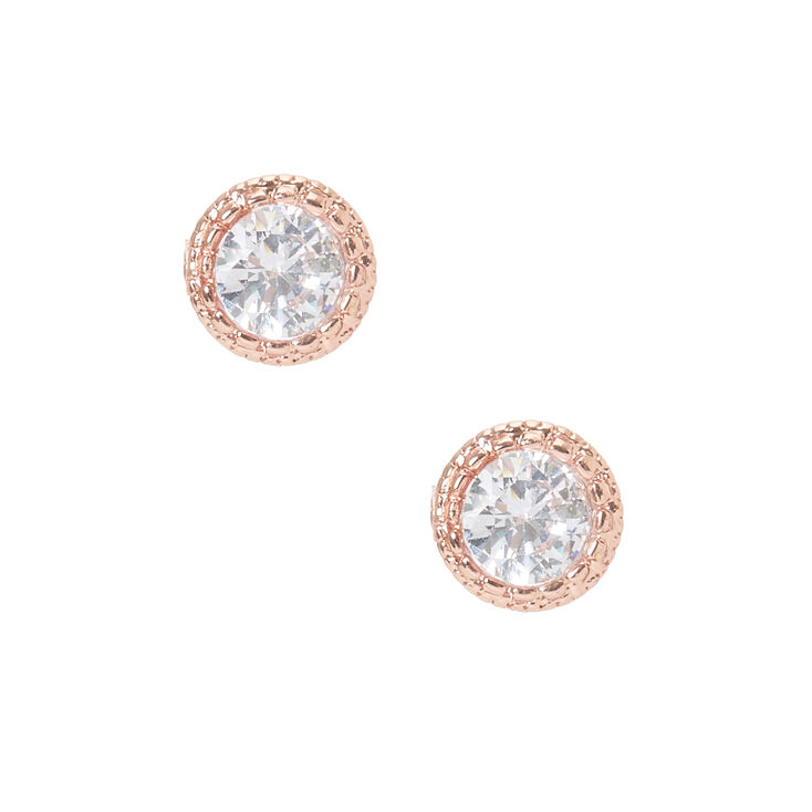 18kt Rose Gold Plated 5MM Fancy Crystal Stud Earrings,