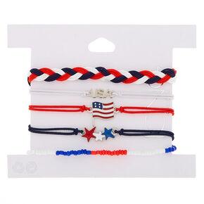 USA Stars & Stripes Mixed Bracelets - 5 Pack,