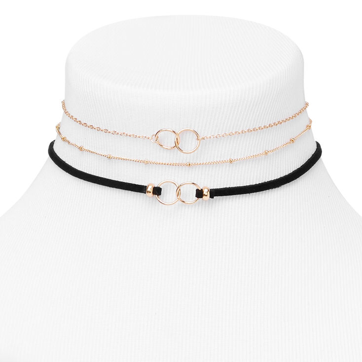 Gold Interlocking Choker Necklaces - Black, 3 Pack,