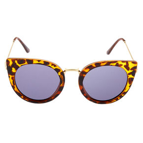 Round Cat Eye Tortoiseshell Sunglasses - Brown,
