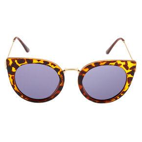 Round Cat Eye Tortoiseshell Sunglasses - Brown,