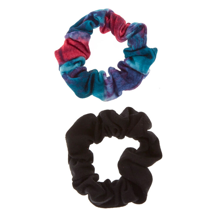Small Black Tie Dye Hair Scrunchies - 2 Pack,