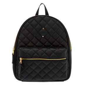 Quilted Midi Backpack - Black,